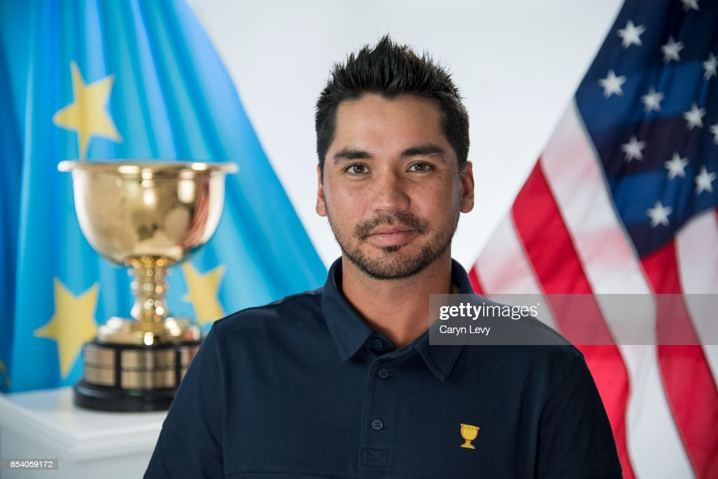 Jason Day poses for his official headshot prior to the start of the Presidents Cup at Liberty National Golf Club on September 25, 2017 in Jersey City, New Jersey.