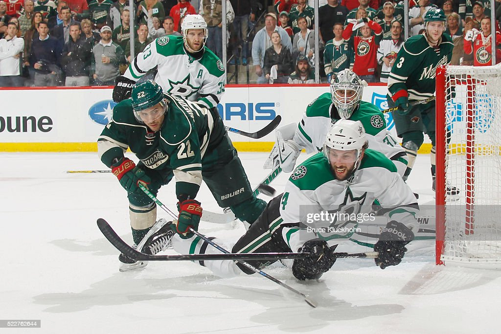 Jason Demers #4 and goalie Antti Niemi #31 of the Dallas Stars defend against Nino Niederreiter #22 of the Minnesota Wild in Game Four of the Western Conference First Round during the 2016 NHL Stanley Cup Playoffs on April 20, 2016 at the Xcel Energy Center in St. Paul, Minnesota.