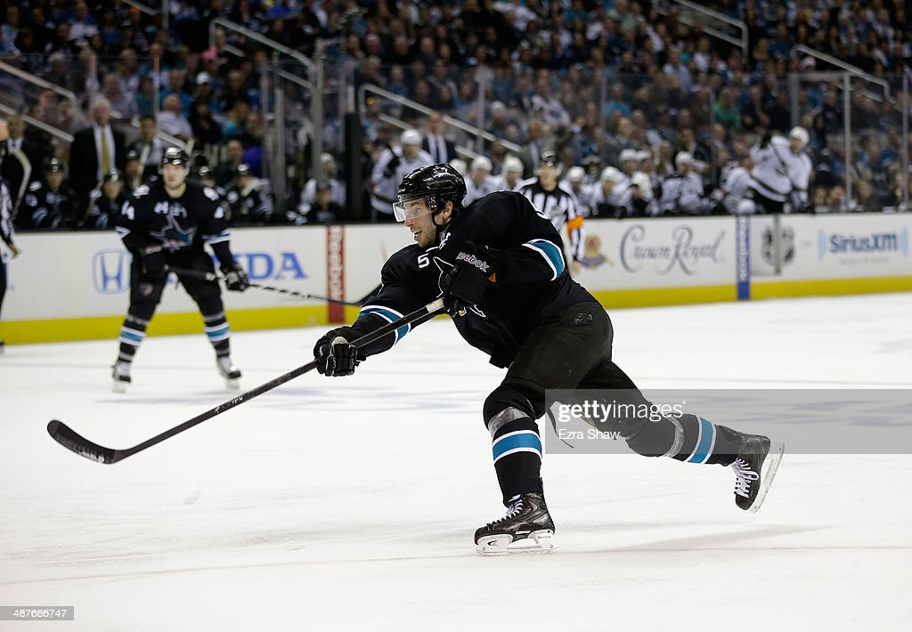 <a gi-track='captionPersonalityLinkClicked' href=/galleries/search?phrase=Jason+Demers&family=editorial&specificpeople=2282534 ng-click='$event.stopPropagation()'>Jason Demers</a> #5 of the San Jose Sharks in action against the Los Angeles Kings in Game Two of the First Round of the 2014 NHL Stanley Cup Playoffs at SAP Center on April 20, 2014 in San Jose, California.