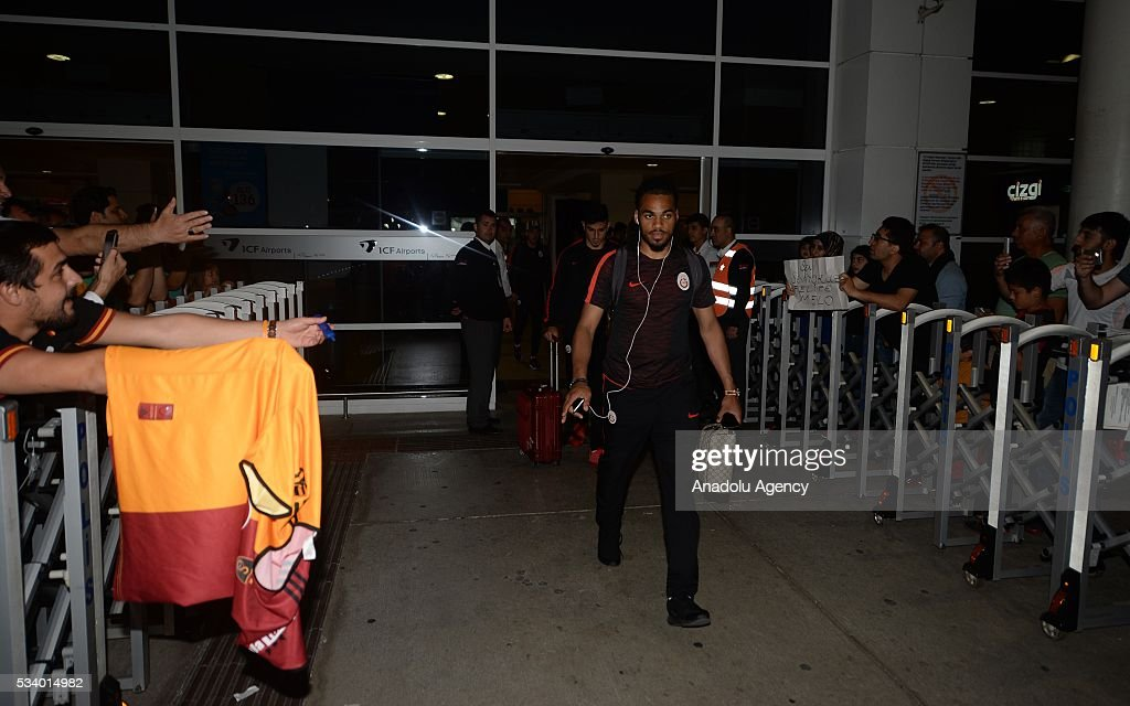 Jason Denaye (C) of Galatasaray walks during their arrival at Antalya Airport for Ziraat Turkish Cup final match against Fenerbahce in Antalya, Turkey on May 24, 2016.