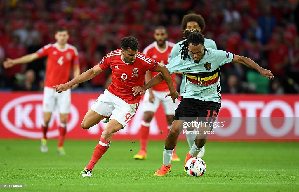 Jason Denayer of Belgium and Hal Robson-Kanu of Wales compete for the ball during the UEFA EURO 2016 quarter final match between Wales and Belgium at Stade Pierre-Mauroy on July 1, 2016 in Lille, France.