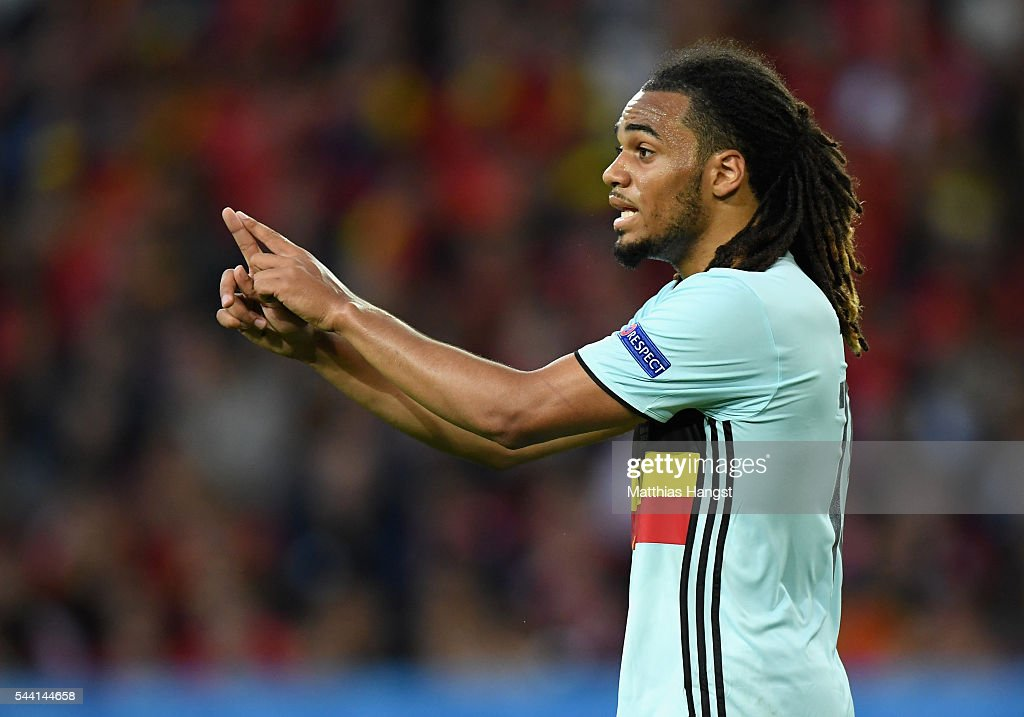 <a gi-track='captionPersonalityLinkClicked' href=/galleries/search?phrase=Jason+Denayer&family=editorial&specificpeople=10953601 ng-click='$event.stopPropagation()'>Jason Denayer</a> of Belgium gestures during the UEFA EURO 2016 quarter final match between Wales and Belgium at Stade Pierre-Mauroy on July 1, 2016 in Lille, France.