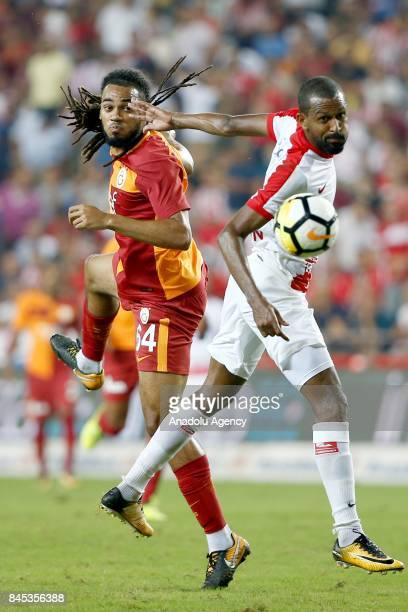 Jason Denayer of Galatasaray in action during the 4th week of the Turkish Super Lig match between Antalyaspor and Galatasaray at the Antalya Stadium...