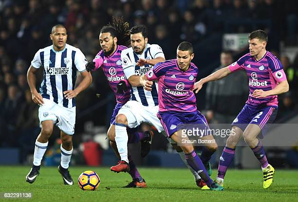 Jason Denayer of Sunderland and Jack Rodwell of Sunderland attempt to stop Nacer Chadli of West Bromwich Albion during the Premier League match...
