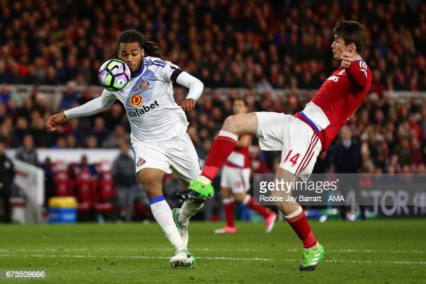 Jason Denayer of Sunderland and Marten De Roon of Middlesbrough during the Premier League match between Middlesbrough and Sunderland at Riverside...