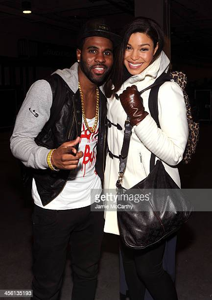 Jason Derulo and Jordin Sparks pose backstage at Z100's Jingle Ball 2013 presented by Aeropostale at Madison Square Garden on December 13 2013 in New...