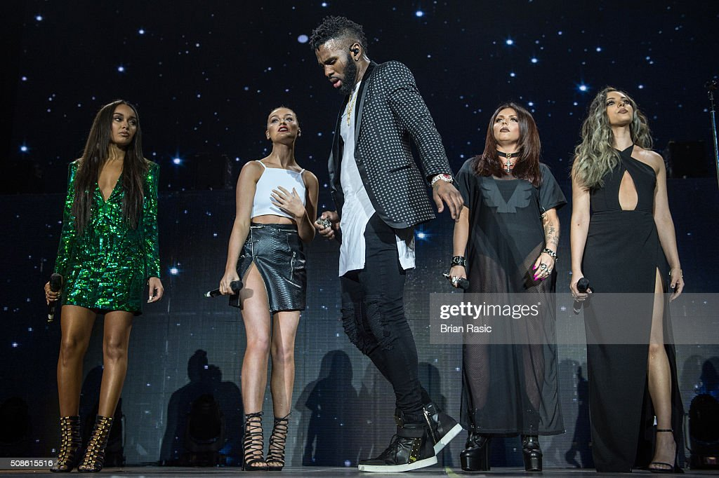 <a gi-track='captionPersonalityLinkClicked' href=/galleries/search?phrase=Jason+Derulo&family=editorial&specificpeople=5745869 ng-click='$event.stopPropagation()'>Jason Derulo</a> and Little Mix (L to R) <a gi-track='captionPersonalityLinkClicked' href=/galleries/search?phrase=Leigh-Anne+Pinnock&family=editorial&specificpeople=8378207 ng-click='$event.stopPropagation()'>Leigh-Anne Pinnock</a>, <a gi-track='captionPersonalityLinkClicked' href=/galleries/search?phrase=Perrie+Edwards&family=editorial&specificpeople=8378323 ng-click='$event.stopPropagation()'>Perrie Edwards</a>, <a gi-track='captionPersonalityLinkClicked' href=/galleries/search?phrase=Jesy+Nelson+-+Little+Mix&family=editorial&specificpeople=8378192 ng-click='$event.stopPropagation()'>Jesy Nelson</a> and <a gi-track='captionPersonalityLinkClicked' href=/galleries/search?phrase=Jade+Thirlwall&family=editorial&specificpeople=8378191 ng-click='$event.stopPropagation()'>Jade Thirlwall</a> perform at The 02 Arena on February 5, 2016 in London, England.