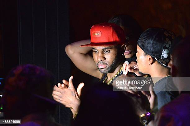 Jason Derulo and Romeo Miller attends the Jason Derulo listening party for his new album 'Talk Dirty' at 1OAK on April 7 2014 in West Hollywood...