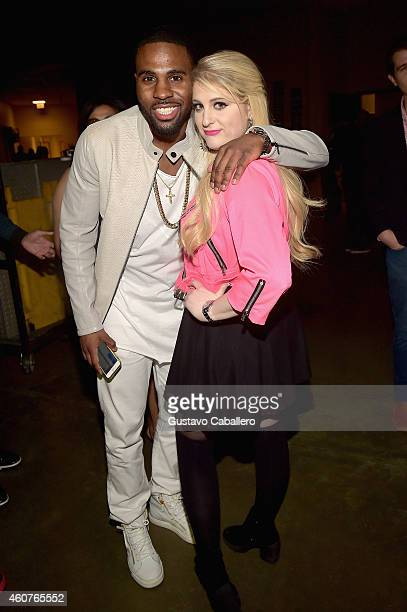 Jason Derulo and Singer/songwriter Meghan Trainor attend Y100's Jingle Ball Village Y100's Jingle Ball 2014 official preshow at BBT Center on...