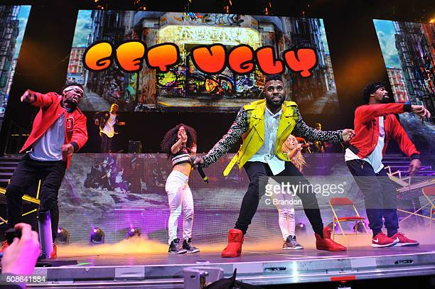 Jason Derulo performs on stage at The O2 Arena on February 5 2016 in London England