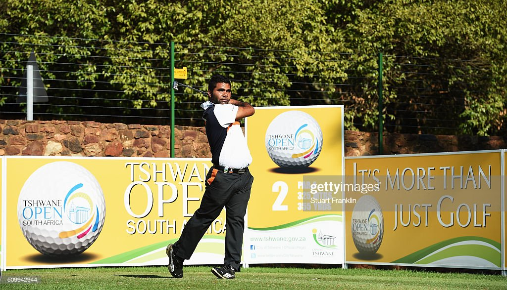 Jason Diab of South Africa plays a shot during the third round of the Tshwane Open at Pretoria Country Club on February 13, 2016 in Pretoria, South Africa.