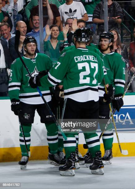Jason Dickinson Adam Cracknell Stephen Johns and the Dallas Stars celebrate a goal against the Arizona Coyotes at the American Airlines Center on...