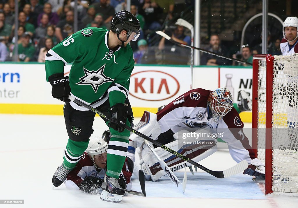 Jason Dickinson of the Dallas Stars scores his first career NHL goal on his first NHL career shot against the Colorado Avalanche in the first period...