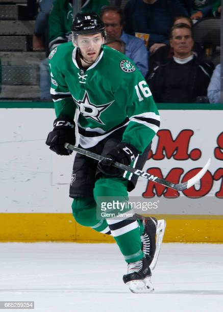Jason Dickinson of the Dallas Stars skates against the Arizona Coyotes at the American Airlines Center on April 4 2017 in Dallas Texas