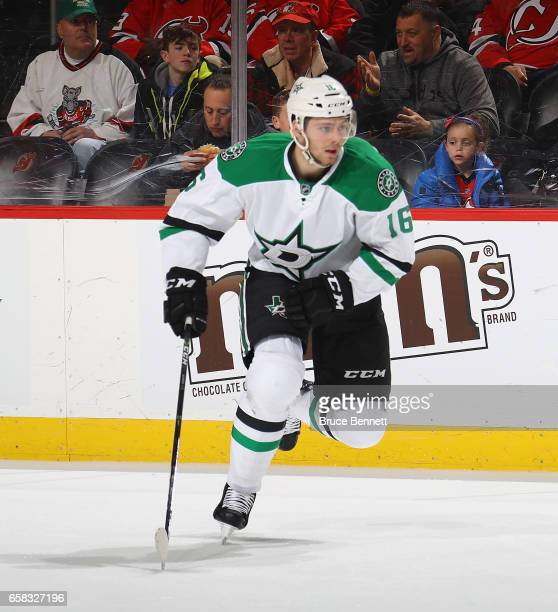 Jason Dickinson of the Dallas Stars skates against the New Jersey Devils at the Prudential Center on March 26 2017 in Newark New Jersey The Stars...