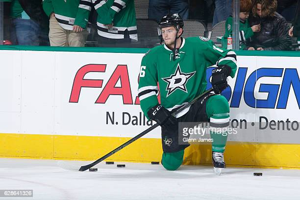 Jason Dickinson of the Dallas Stars skates during warm ups against the Nashville Predators at the American Airlines Center on December 8 2016 in...