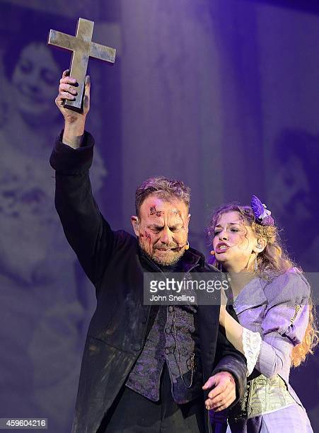 Jason Donovan as Parson Nathaniel and CarrieHope Fletcher as Beth Parson Nathaniel's wife performs during a dress rehearsal for 'War of the Worlds'...