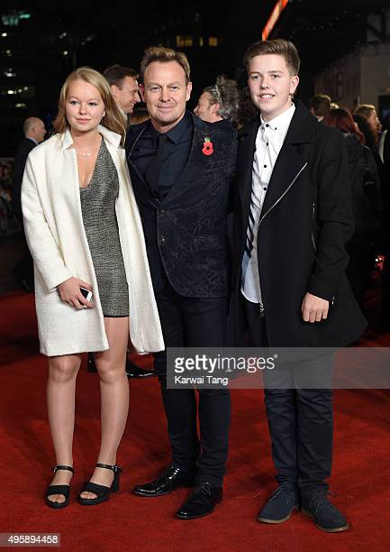 Jason Donovan with daughter Jemma Donovan and son Zac Donovan attends The Hunger Games Mockingjay Part 2 UK Premiere at Odeon Leicester Square on...