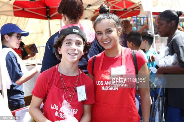 Jason Drucker and Amber Romero at the Los Angeles Mission's End of Summer Arts and Education Fair at Los Angeles Mission on August 26 2017 in Los...