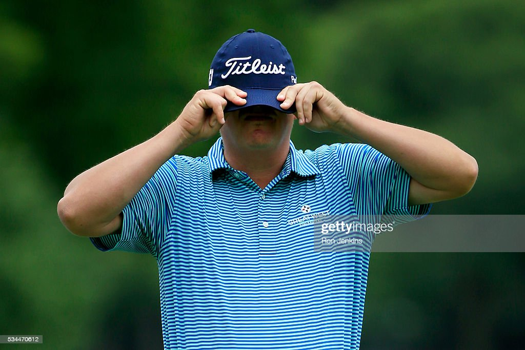 <a gi-track='captionPersonalityLinkClicked' href=/galleries/search?phrase=Jason+Dufner&family=editorial&specificpeople=561651 ng-click='$event.stopPropagation()'>Jason Dufner</a> adjusts his hat on the second green during the First Round of the DEAN & DELUCA Invitational at Colonial Country Club on May 26, 2016 in Fort Worth, Texas.