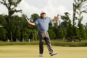 Jason Dufner celebrates after defeating Ernie Els in a two hole playoff to win the final round of the Zurich Classic of New Orleans at TPC Louisiana...