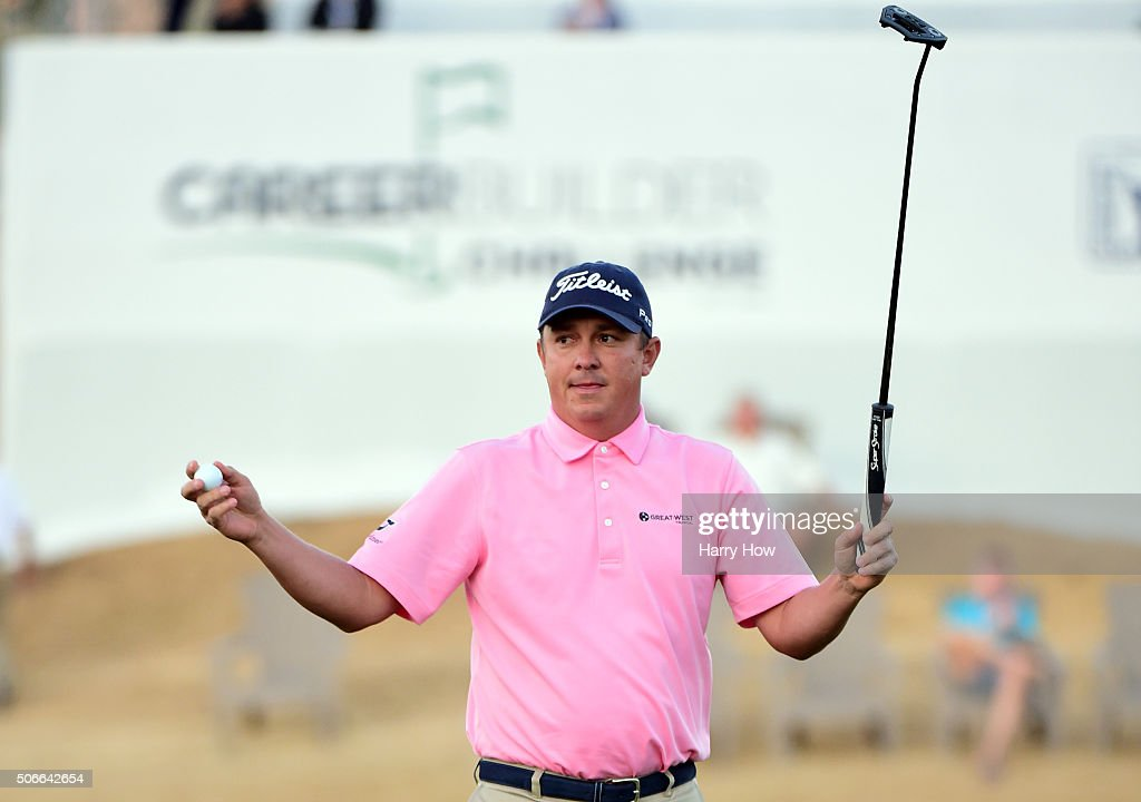 <a gi-track='captionPersonalityLinkClicked' href=/galleries/search?phrase=Jason+Dufner&family=editorial&specificpeople=561651 ng-click='$event.stopPropagation()'>Jason Dufner</a> celebrates after winning the CareerBuilder Challenge In Partnership With The Clinton Foundation on the second playoff hole on the 18th green at the TPC Stadium course at PGA West on January 24, 2016 in La Quinta, California.