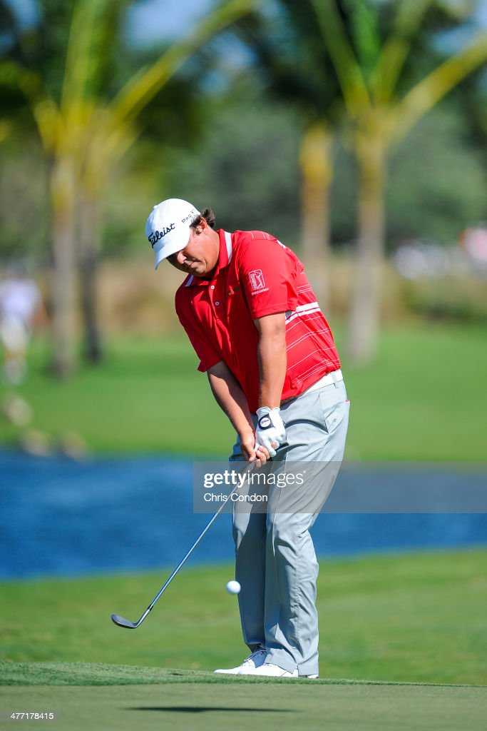 Jason Dufner chips onto the seventh greenduring the second round of the World Golf Championships-Cadillac Championship at Blue Monster, Trump National Doral, on March 7, 2014 in Doral, Florida.