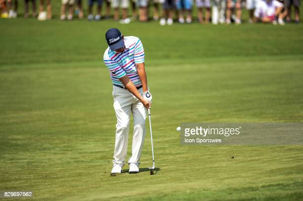 Jason Dufner hits a chip shot during 1st round action at the PGA Championship at the Quail Hollow Club on August 10 2017 in Charlotte NC