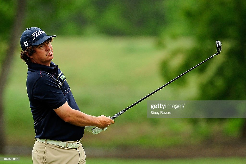 Jason Dufner hits his second shot on the 2nd hole during the third round of the Zurich Classic of New Orleans at TPC Louisiana on April 27, 2013 in Avondale, Louisiana.