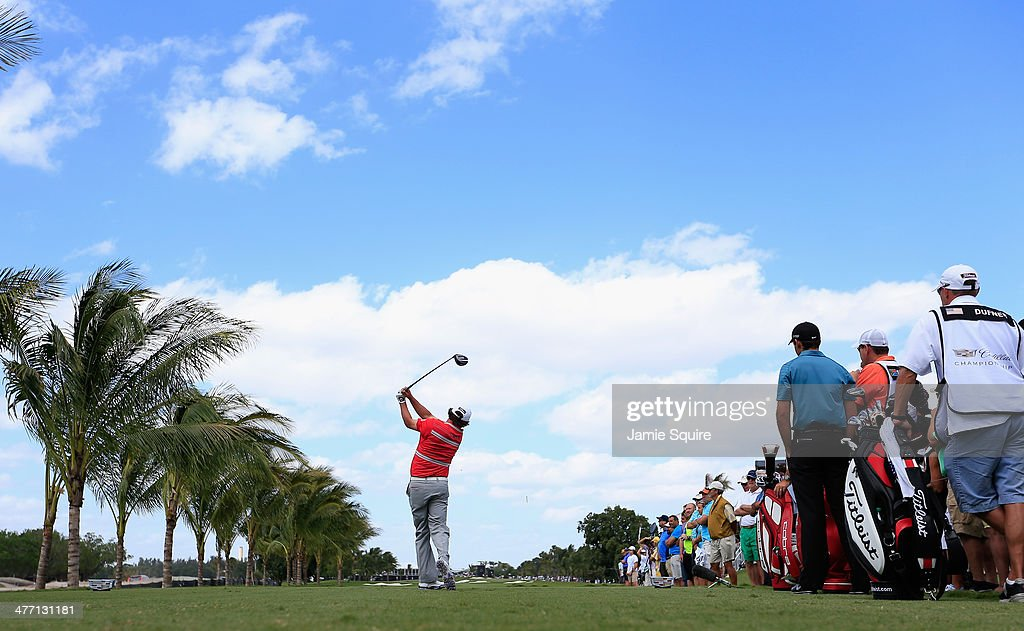 <a gi-track='captionPersonalityLinkClicked' href=/galleries/search?phrase=Jason+Dufner&family=editorial&specificpeople=561651 ng-click='$event.stopPropagation()'>Jason Dufner</a> hits his tee shot on the second hole during the second round of the World Golf Championships-Cadillac Championship at Trump National Doral on March 7, 2014 in Doral, Florida.