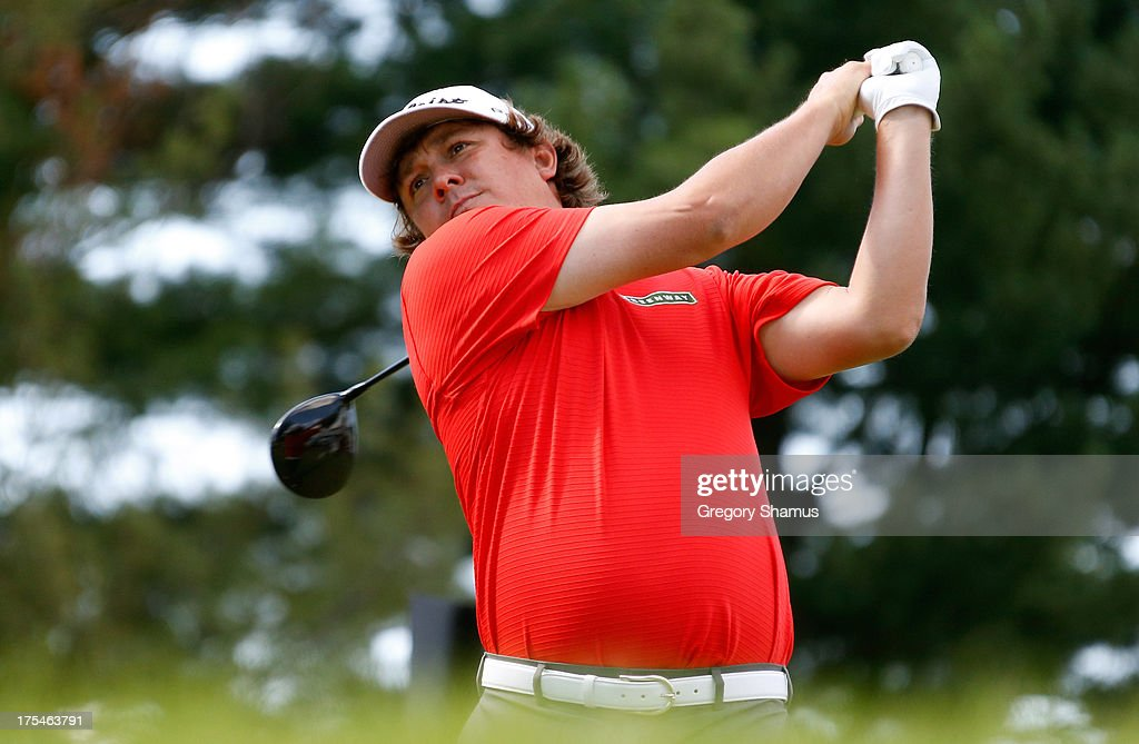 <a gi-track='captionPersonalityLinkClicked' href=/galleries/search?phrase=Jason+Dufner&family=editorial&specificpeople=561651 ng-click='$event.stopPropagation()'>Jason Dufner</a> hits off the 17th tee during the Third Round of the World Golf Championships-Bridgestone Invitational at Firestone Country Club South Course on August 3, 2013 in Akron, Ohio.