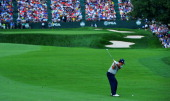 Jason Dufner of the United States hits his approach shot on the 18th hole during the second round of the 95th PGA Championship on August 9 2013 in...