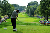Jason Dufner of the United States hits his tee on the 13th hole during the second round of the 95th PGA Championship on August 9 2013 in Rochester...