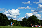 Jason Dufner of the United States lines up a putt on the ninth green during the final round of the 95th PGA Championship at Oak Hill Country Club on...