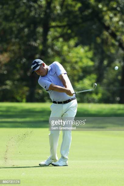Jason Dufner of the United States plays a shot on the fifth hole during the first round of the TOUR Championship at East Lake Golf Club on September...