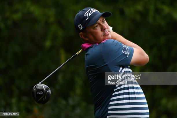 Jason Dufner of the United States plays his shot from the 12th tee during the second round of the 2017 PGA Championship at Quail Hollow Club on...