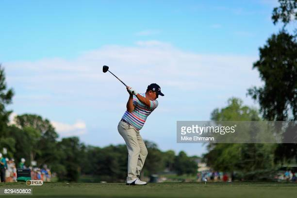 Jason Dufner of the United States plays his shot from the 16th tee during the first round of the 2017 PGA Championship at Quail Hollow Club on August...