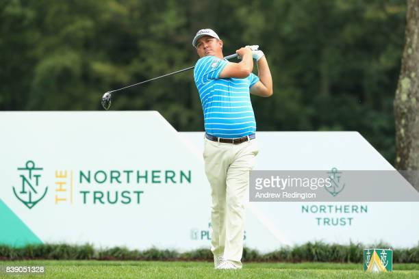 Jason Dufner of the United States plays his shot from the fourth tee during round two of The Northern Trust at Glen Oaks Club on August 25 2017 in...