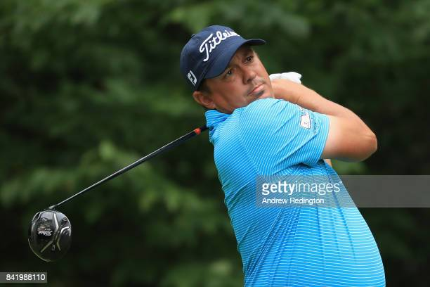 Jason Dufner of the United States plays his shot from the ninth tee during round two of the Dell Technologies Championship at TPC Boston on September...