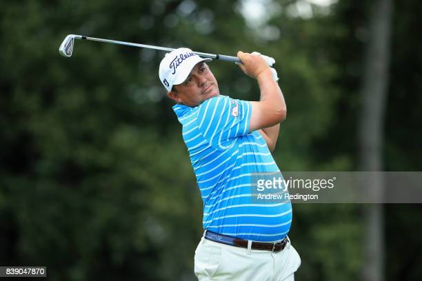 Jason Dufner of the United States plays his shot from the second tee during round two of The Northern Trust at Glen Oaks Club on August 25 2017 in...