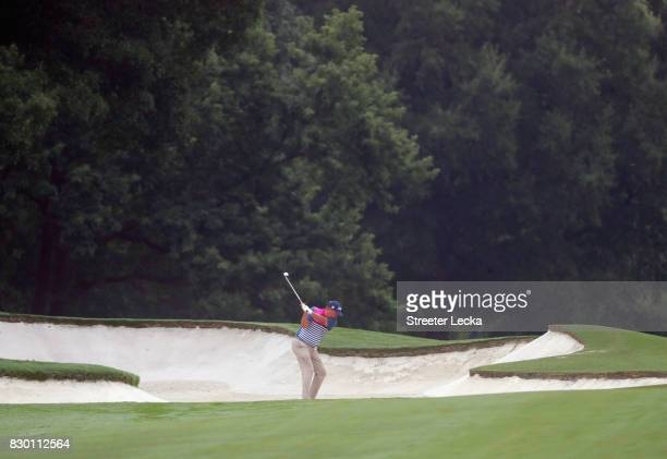 Jason Dufner of the United States plays his shot on the 10th hole during the second round of the 2017 PGA Championship at Quail Hollow Club on August...