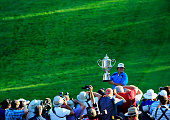 Jason Dufner of the United States poses for photographers with the Wanamaker Trophy after his twostroke victory at the 95th PGA Championship at Oak...
