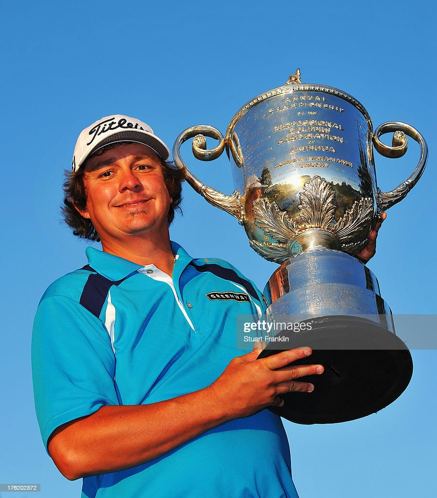 <a gi-track='captionPersonalityLinkClicked' href=/galleries/search?phrase=Jason+Dufner&family=editorial&specificpeople=561651 ng-click='$event.stopPropagation()'>Jason Dufner</a> of the United States poses with the Wanamaker Trophy after his two-stroke victory at the 95th PGA Championship at Oak Hill Country Club on August 11, 2013 in Rochester, New York.