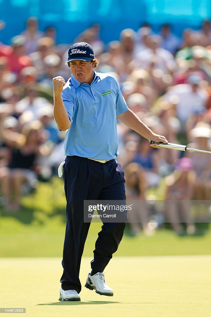 <a gi-track='captionPersonalityLinkClicked' href=/galleries/search?phrase=Jason+Dufner&family=editorial&specificpeople=561651 ng-click='$event.stopPropagation()'>Jason Dufner</a> of the United States pumps his fist after sinking a birdie putt at the eighteenth hole to win the HP Byron Nelson Championship at TPC Four Seasons Resort on May 20, 2012 in Irving, Texas.