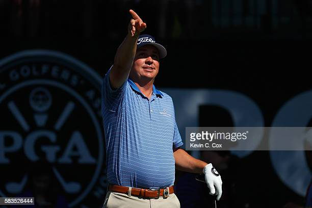 Jason Dufner of the United States reacts on the first hole during a practice round prior to the 2016 PGA Championship at Baltusrol Golf Club on July...