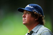 Jason Dufner of the United States waits on the 13th hole during the second round of the 95th PGA Championship on August 9 2013 in Rochester New York