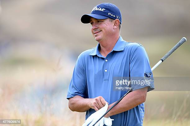 Jason Dufner of the United States walks to the sixth tee during the first round of the 115th US Open Championship at Chambers Bay on June 18 2015 in...