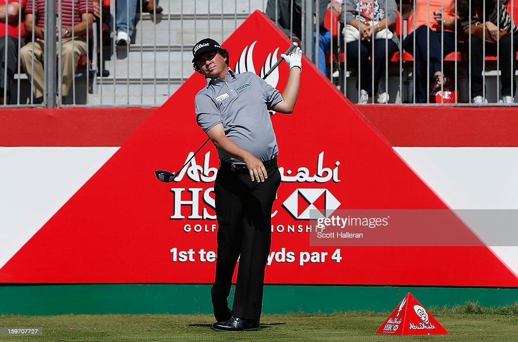 Jason Dufner of the USA hits his tee shot on the 1st hole during the third round of the Abu Dhabi HSBC Golf Championship at Abu Dhabi Golf Club on January 19, 2013 in Abu Dhabi, United Arab Emirates.