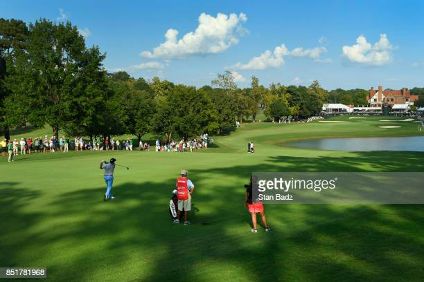 Jason Dufner plays a shot on the 18th hole during the second round of the TOUR Championship the final event of the FedExCup Playoffs at East Lake...