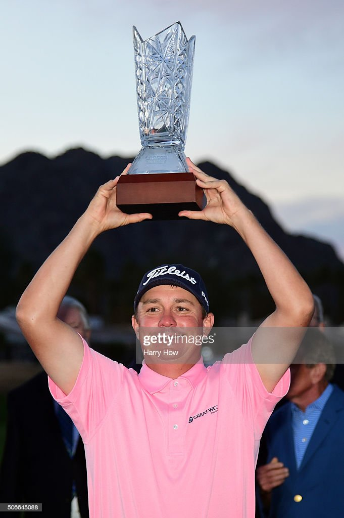<a gi-track='captionPersonalityLinkClicked' href=/galleries/search?phrase=Jason+Dufner&family=editorial&specificpeople=561651 ng-click='$event.stopPropagation()'>Jason Dufner</a> poses with the trophy after winning the CareerBuilder Challenge In Partnership With The Clinton Foundation at the TPC Stadium course at PGA West on January 24, 2016 in La Quinta, California.